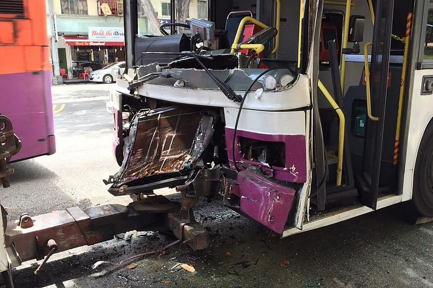 Twenty-eight people were injured in an accident involving three buses along Changi Road on Thursday morning. -- ST PHOTO: TEE ZHUO