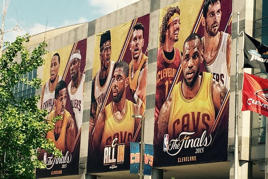 The Quicken Loans Arena which is painted up for the NBA Finals. -- ST PHOTO: PAUL ZACH
