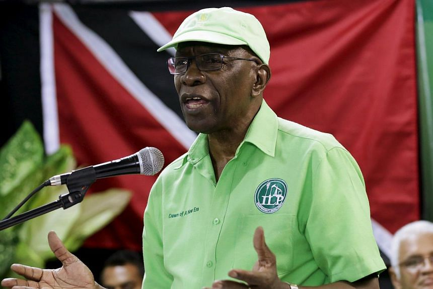 Former Fifa Vice-President Jack Warner addresses the audience during a meeting of his Independent Liberal Party in Marabella, South Trinidad, on June 3, 2015. -- PHOTO: REUTERS