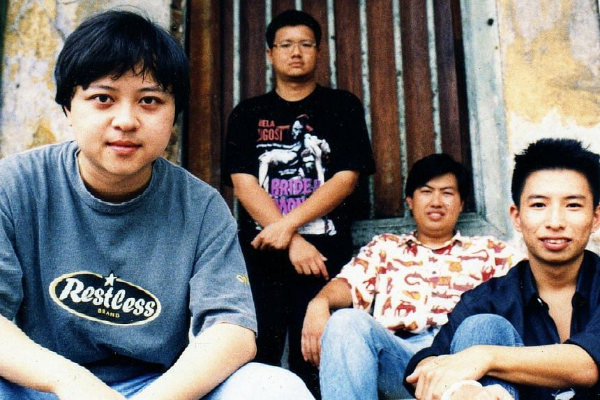 The Oddfellows' (main picture, from far left) Johnny Ong, Vincent Lee, Patrick Chng and Kelvin Tan in their younger days (above, in a 1995 picture).