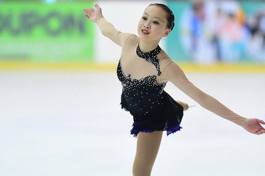 Yu Shuran competing at the 2015 Singapore National Figure Skating Championships in April 2015 at The Rink at JCube.-- PHOTO: SINGAPORE ICE SKATING ASSOCIATION