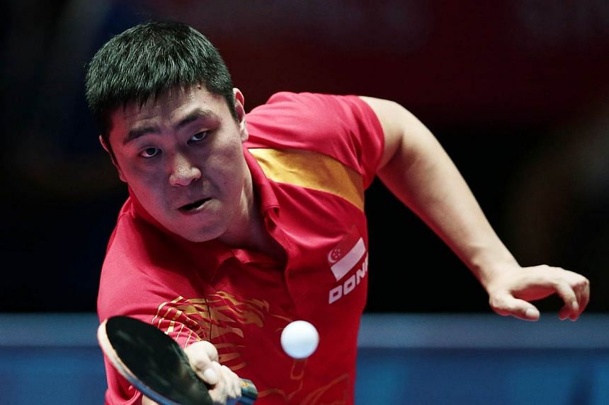 Singapore's top men's paddler Gao Ning in action at the 28th SEA Games. -- PHOTO: REUTERS