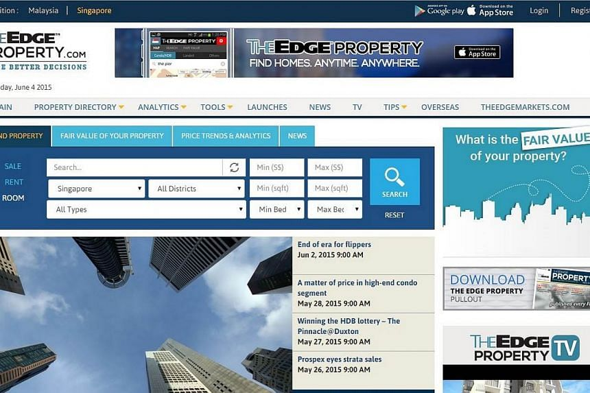 Screenshot of website TheEdgeProperty.com. Billionaire investor Peter Lim has picked up a 20 per cent stake for an undisclosed amount in the site, which is set to make its debut in the crowded real estate portal scene in Singapore this July. -- SCREE