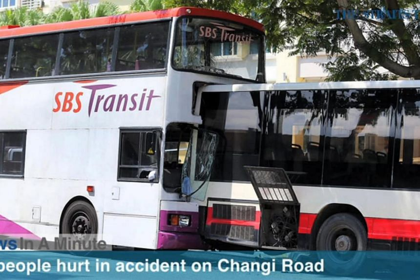 Twenty-eight people were injured in an accident involving three public buses along Changi Road this morning. -- SCREENGRAB FROM RAZOR TV