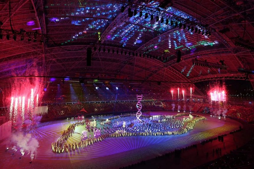 The 28th SEA Games Opening Ceremony, a two-hour extravaganza that involved some 5,000 performers and volunteers, held at the National Stadium on June 5, 2015. -- ST PHOTO: NEO XIAOBIN