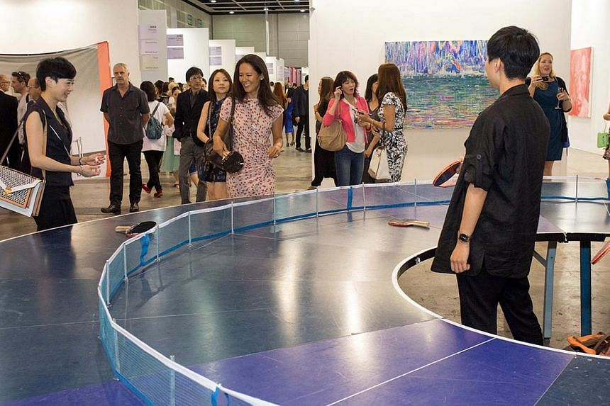 Interactive art installation Ping-Pong Go Round by Singapore artist Lee Wen at the recent Art Basel in Hong Kong. -- PHOTO: ART BASEL