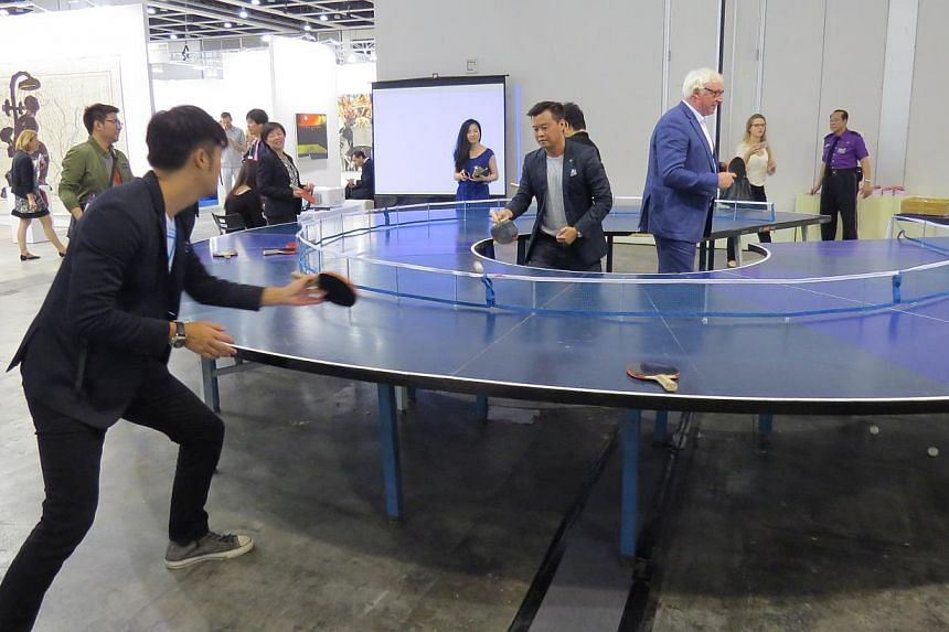 Ping-Pong Go Round travelled to Art Basel Hong Kong in March 2014, where it proved popular with visitors to the art fair. -- PHOTO: THE BUSINESS TIMES FILE