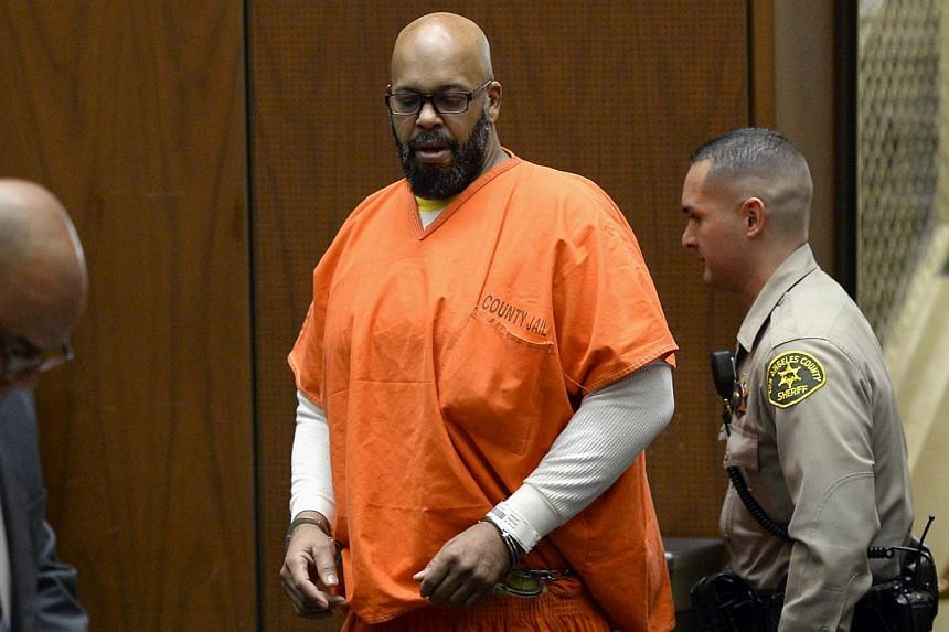 Suge Knight appearing in court for a arraignment hearing in his murder trial in Los Angeles, California, on April 30, 2015. The family of a man allegedly killed by Knight has filed a wrongful death lawsuit against the ex rap mogul as well as Dr Dre,