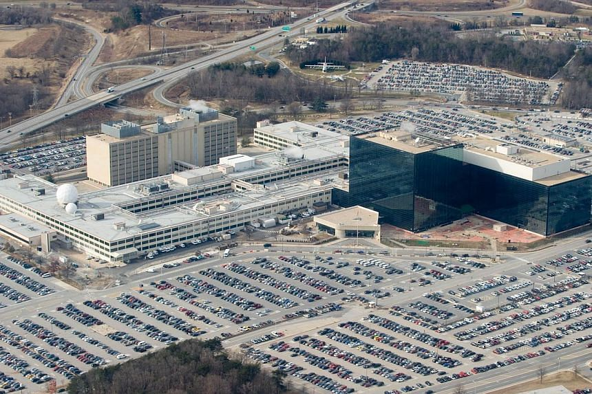 The National Security Agency (NSA) headquarters at Fort Meade, Maryland, in 2010. Documents leaked by Edward Snowden show that the US has widened the NSA's warrantless surveillance of Americans' international Internet traffic in the hunt for hackers.