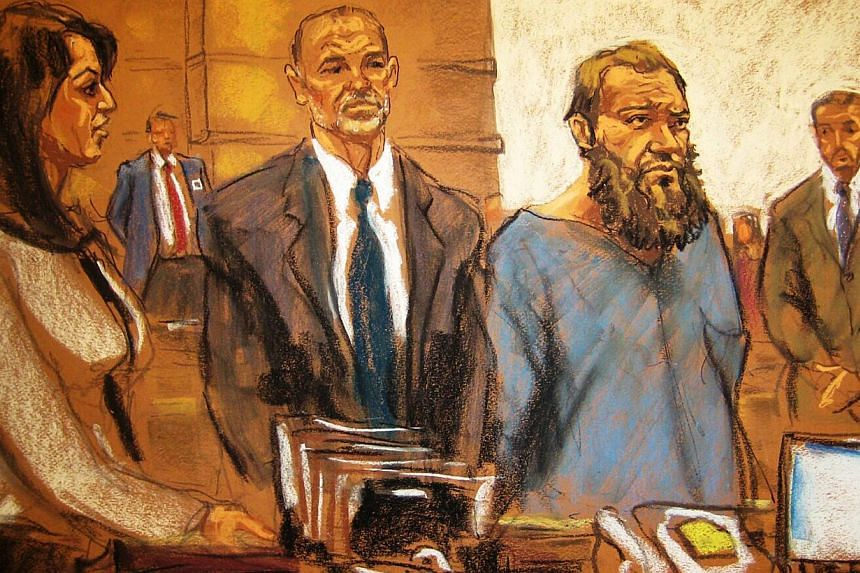 Muhanad Mahmoud al Farekh (second, right) appearing in court in New York, along with court-appointed lawyer, Sean Maher, and Asistant US Attorney Zainab Ahmad (left) in this April 2, 2015, court sketch. -- PHOTO: REUTERS