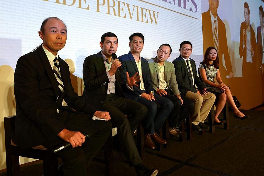 (From left) SPH strategic marketing head Geoffrey Tan; ST editor Warren Fernandez; ST digital editor Eugene Leow; ST managing editor Ignatius Low; SPH marketing division's head of integrated sales and print classified Tan Ooi Boon; and SPH digital di