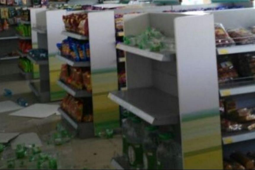 Items strewn on the floor of a shop after tremors shook Sabah on June 5, 2015.-- PHOTO: THE STAR/ASIA NEWS NETWORK