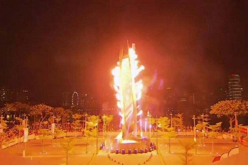 The Games cauldron was lit during the opening ceremony on Friday, June 5. -- PHOTO: SPORT SINGAPORE/YOUTUBE