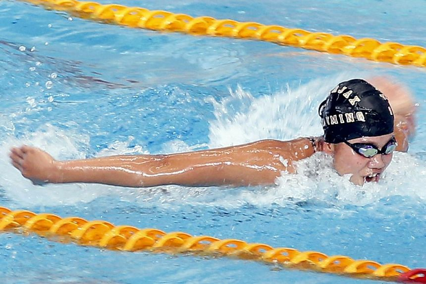Vietnam sensation Nguyen Thi Anh Vien gave a sign of things to come on the first day of the SEA Games swimming competition when she broke the first Games record in the heats on Saturday morning. -- ST PHOTO: LAU FOOK KONG