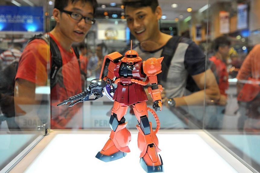 Gundam model in the exhibition of over 200 Gundam models at Takashimaya Square on June 6, 2015. -- PHOTO: LIM YAOHUI FOR THE STRAITS TIMES