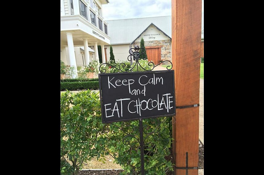 A sign outside a chocolatier next to the Keith Tulloch Winery in Hunter Valley, New South Wales. -- ST PHOTO: MELISSA HENG