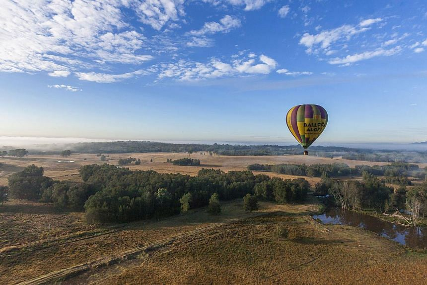 For a panoramic view of Hunter Valley, try a hot-air balloon ride. -- PHOTO: DESTINATION NSW, MURRAY VANDERVEER