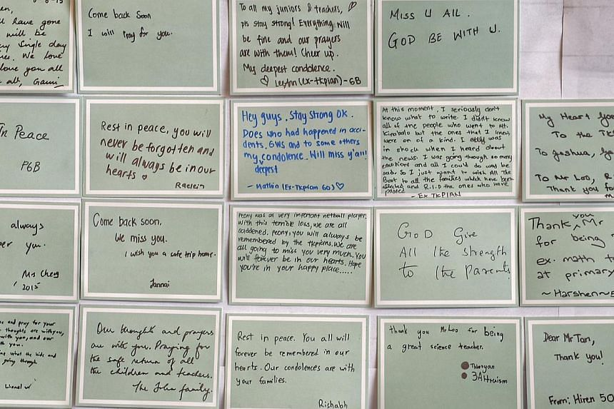 Messages from well wishers which were put up by staff members of Tanjong Katong Primary School. -- ST PHOTO: DESMOND WEE