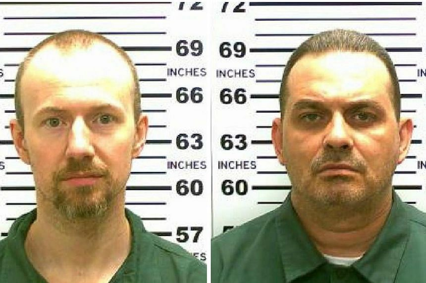 Killers Richard Matt (right), 48, and David Sweat (left), 34, sneaked out of the all-male Clinton Correctional Facility in Dannemora, New York, sometime between 5th to 6th June, 2015 . -- PHOTO: REUTERS