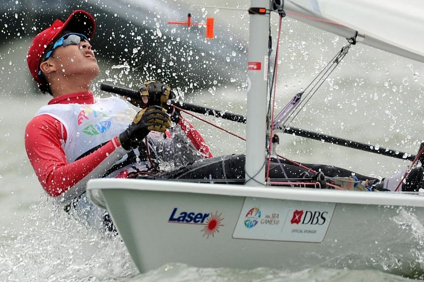 Bernie Chin,racing in the Men's Under-19 Laser Radial, claimed Singapore's second sailing gold of the day. -- PHOTO:SINGAPORE SEA GAMES ORGANISING COMMITTEE/ACTION IMAGES VIA REUTERS