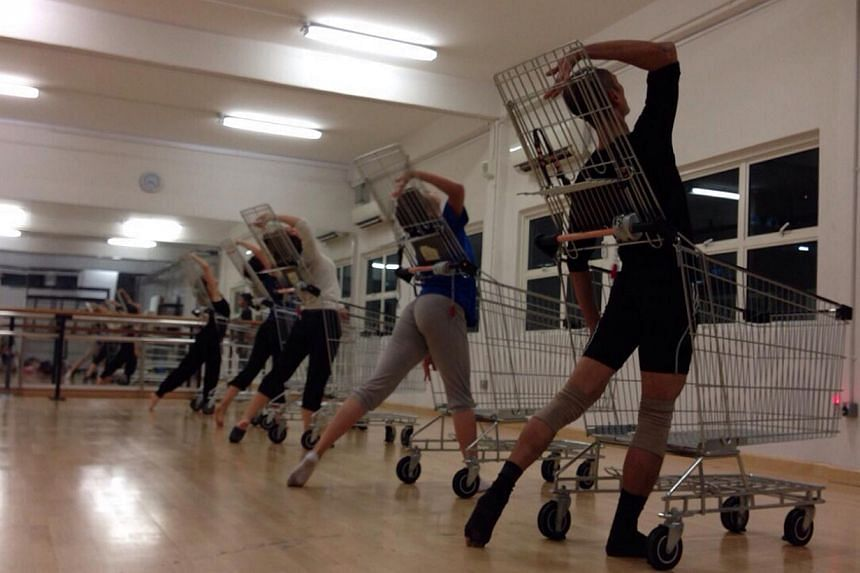 Dancers in Adeline Ee's What's Behind, which is about the overwhelming amount of food in supermarkets. -- PHOTO: RE:DANCE THEATRE