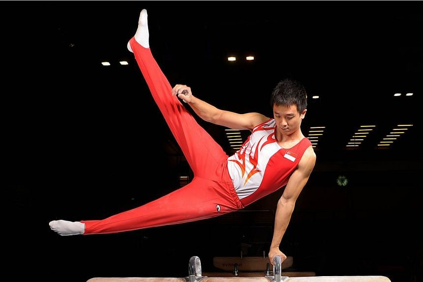 Team captain Gabriel Gan's second-place finish in the men's pommel horse was one of two silvers Singapore's artistic gymnasts clinched on June 9, 2015. -- PHOTO: ST FILE