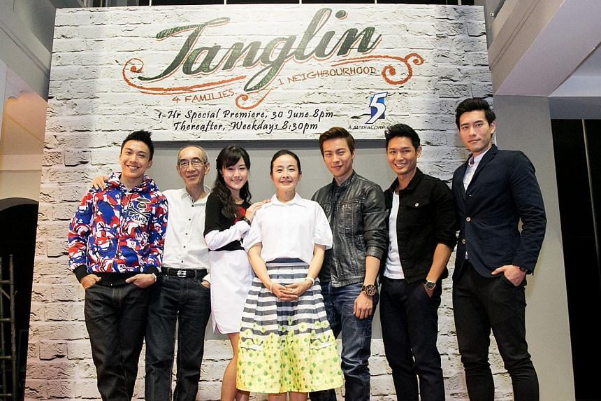 (From left) The Tong family: Charlie Goh, Laurence Pang, Jae Liew, Wee Soon Hui, Nat Ho, Darryl Yong and James Seah. -- PHOTO: CHANNEL 5