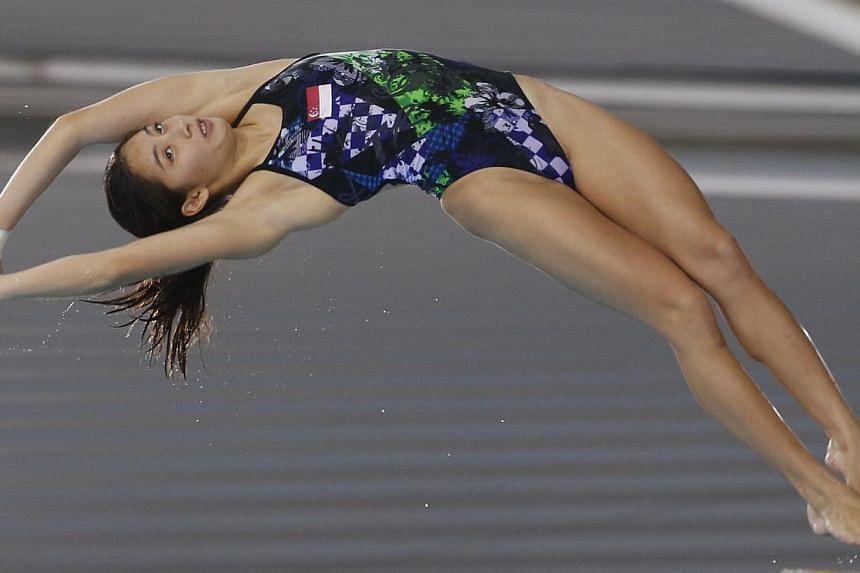 Singapore's Freida Lim finished third in the women's 10m platform. -- ST PHOTO: KEVIN LIM