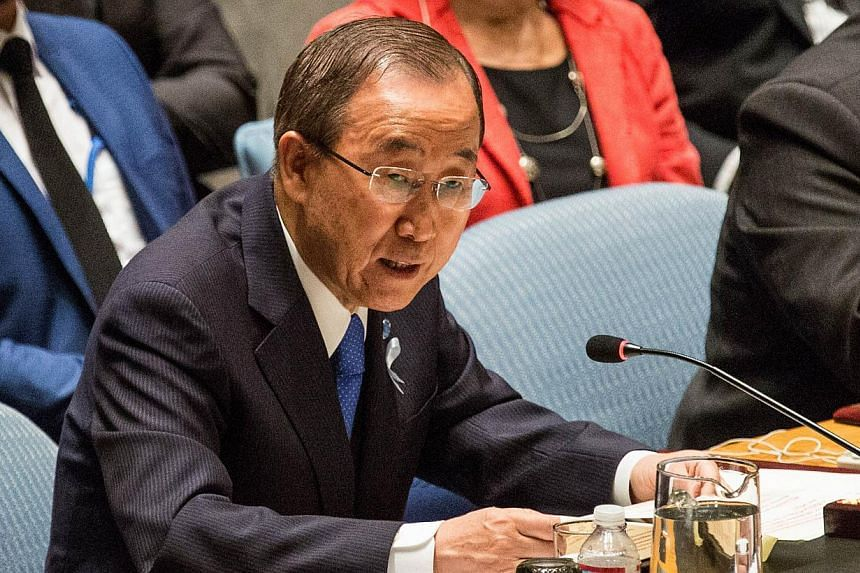 United Nations Secretary General Ban Ki Moon speaks at a United Nations Security Council meeting on May 29, 2015 in New York City. Mr Ban on Tuesday began a five-day trip to ex-Soviet Central Asia with a visit to Tajikistan, as advocacy groups presse