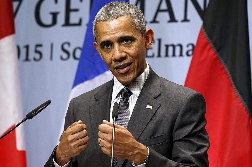 US President Barack Obama speaks during his news conference at the conclusion of the G7 Summit in the Bavarian town of Kruen, Germany on Monday (June 8). -- PHOTO: REUTERS