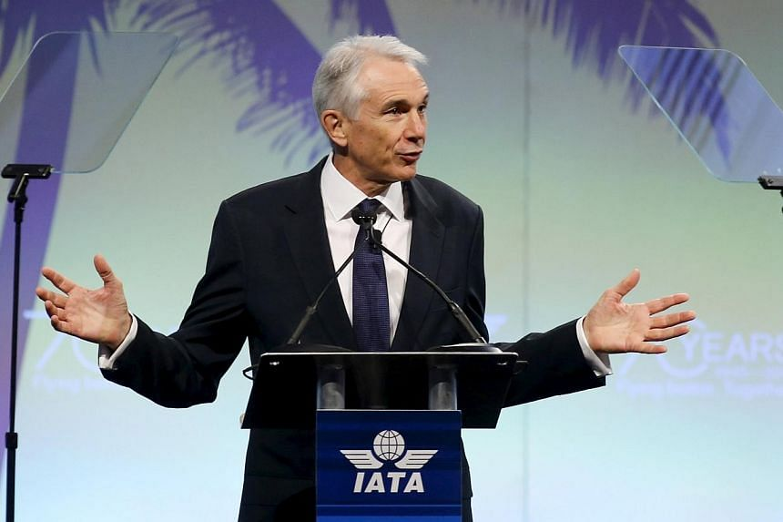 IATA Director General and CEO Tony Tyler speaks at the 2015 International Air Transport Association (IATA) Annual General Meeting (AGM) and World Air Transport Summit in Miami Beach, Florida on Monday (June 8). -- PHOTO: REUTERS