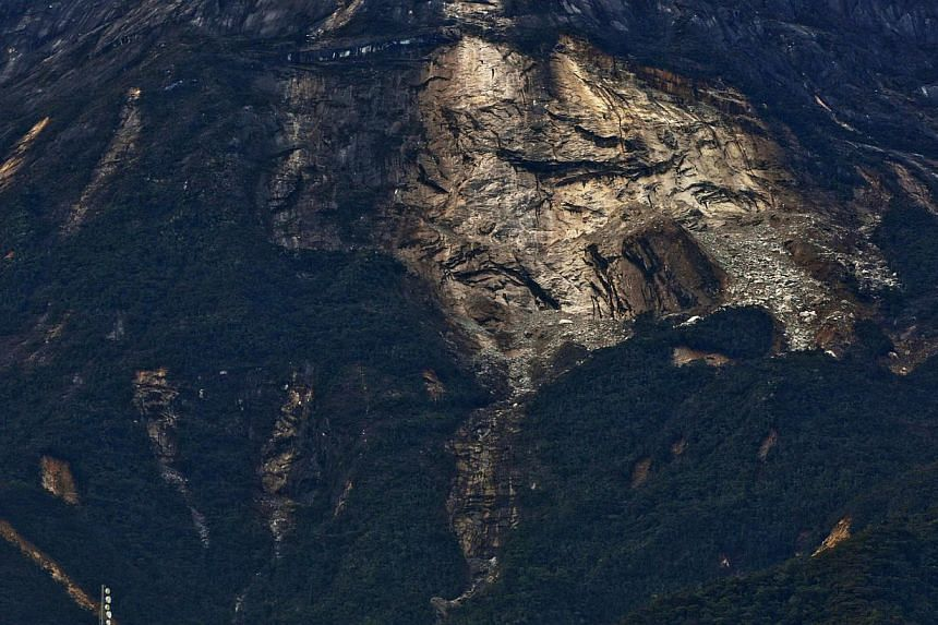 A view of a landslide on Mount Kinabalu in Sabah. The Ranau earthquake was caused by the presence of active fault lines. This is because Sabah is still receiving compression forces from the interaction of three main tectonic plates.