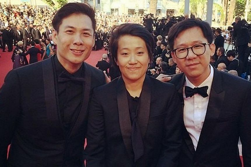 The team behind Popeye (above, from left) Anthony Chen, Kirsten Tan and Lai Weijie, seen here at the Cannes Festival's 2015 Cinefondation Atelier, a financing and co-production forum. Priscilla Ang (below left) is the youngest recipient. Posters for