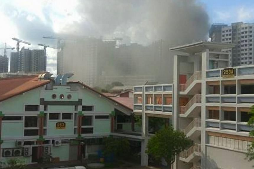 A fire broke out at a construction site for a Build-to-Order estate at Keat Hong Link Road on Thursday morning. -- PHOTO: CHUA YONG XIANG