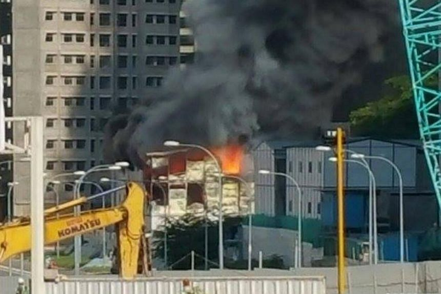 A fire broke out at a construction site for a Build-to-Order estate at Keat Hong Link Road on Thursday morning. -- PHOTO: CK CHEOK