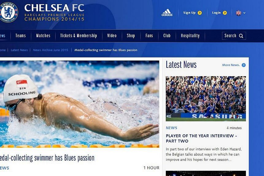 English Premier League champions Chelsea featured Singapore swimming star Joseph Schooling on its website. -- PHOTO: SCREENGRAB FROM WWW.CHELSEAFC.COM