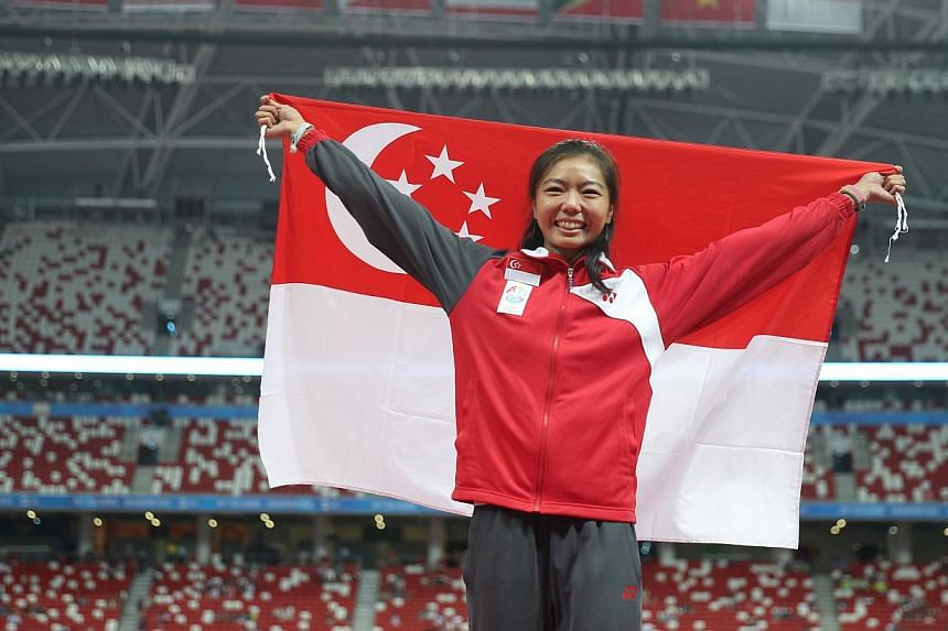 Michelle Sng cleared a height of 1.81 in the women's high jump and settled for another bronze.-- ST PHOTO:ONG WEE JIN