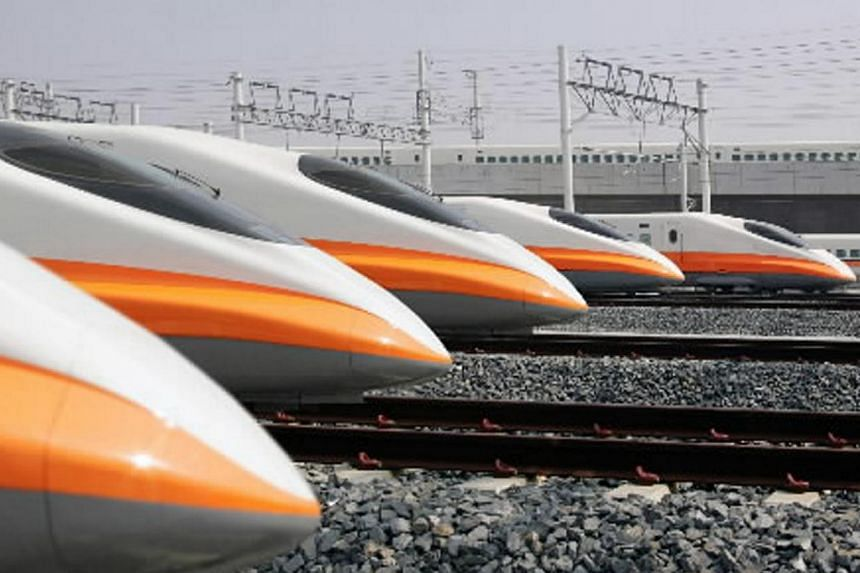 Taiwan's 700T Series passenger trains, based on Japan's Shinkansen 700 Series, in Kaohsiung. A cross-border mega infrastructure project such as the Kuala Lumpur-Singapore High-Speed Rail will succeed only if it successfully integrates two countri