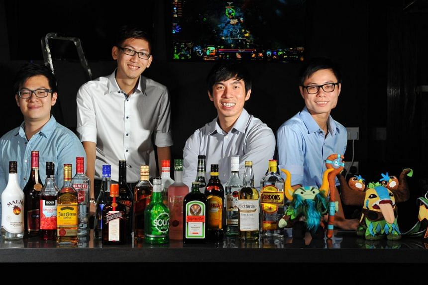 At Brewlings, the brainchild of (from far left) Mr Derrick Tan, Mr Chen Wei Ming, Mr Desmond Tan and Mr Lim Yee Chen. -- PHOTO: LIM YAOHUI FOR THE STRAITS TIMES