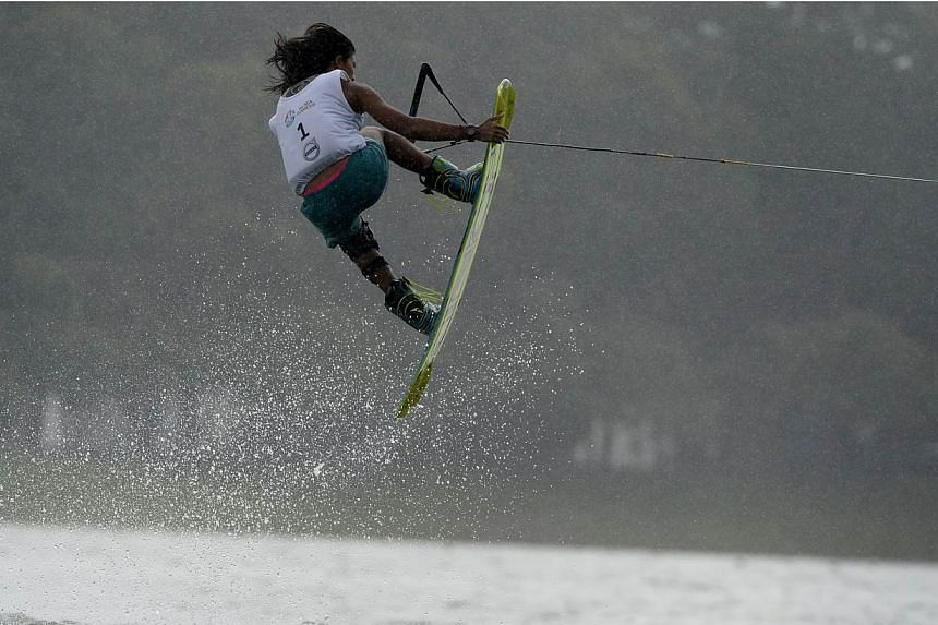 Singapore's Sasha Christian in action during the woman's individual wakeboard competition at the Bedok Reservoir on June 12, 2015. -- ST PHOTO: MARK CHEONG