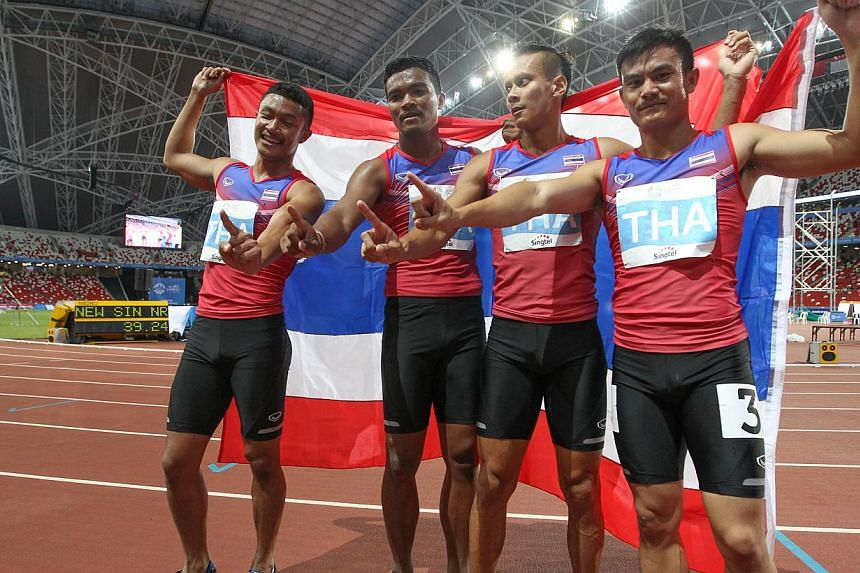 The Thai men's 4x100m team added another gold to give Thailand the lead in the medal tally with 71 golds, 67 silvers and 54 bronzes, with four days of competition left.