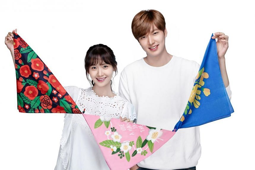 Celebrities endorsing Korean beauty products include Im Yoona (left) and Lee Min Ho (right). -- PHOTO: LANEIGE