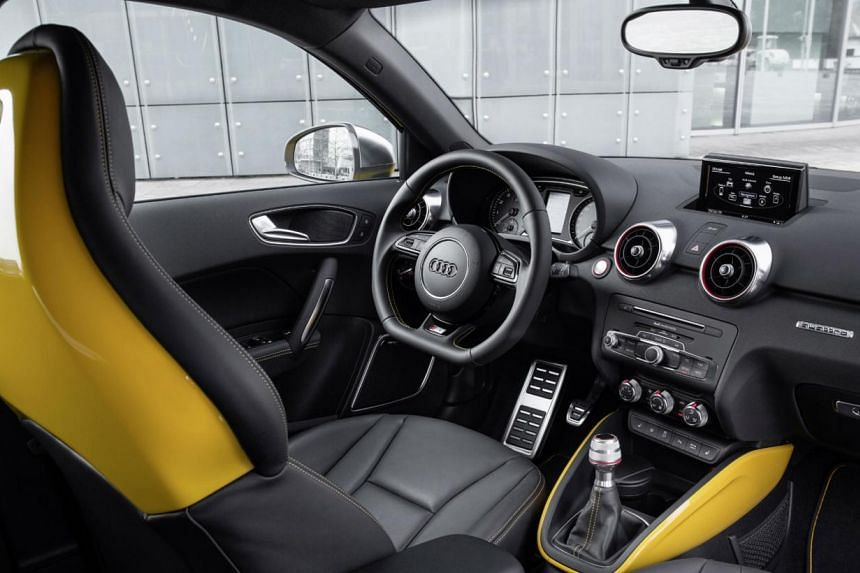 The Audi S1 hot hatch is highly responsive to steering and throttle inputs, and has seatbacks that are colour-coordinated with the exterior paintwork. -- PHOTO: AUDI