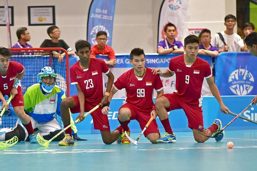 Singapore's men's floorball team in action during the preliminary rounds. Both the men's and women's teams will face Thailand in the final. -- PHOTO: SEA GAMES ORGANISING COMMITTEE/ACTION IMAGES VIA REUTERS