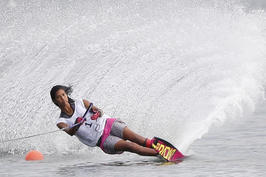 Sasha Christian in the SEA Games water-ski women's slalom final at the Bedok Reservoir on June 13, 2015.-- ST PHOTO: KEVIN LIM