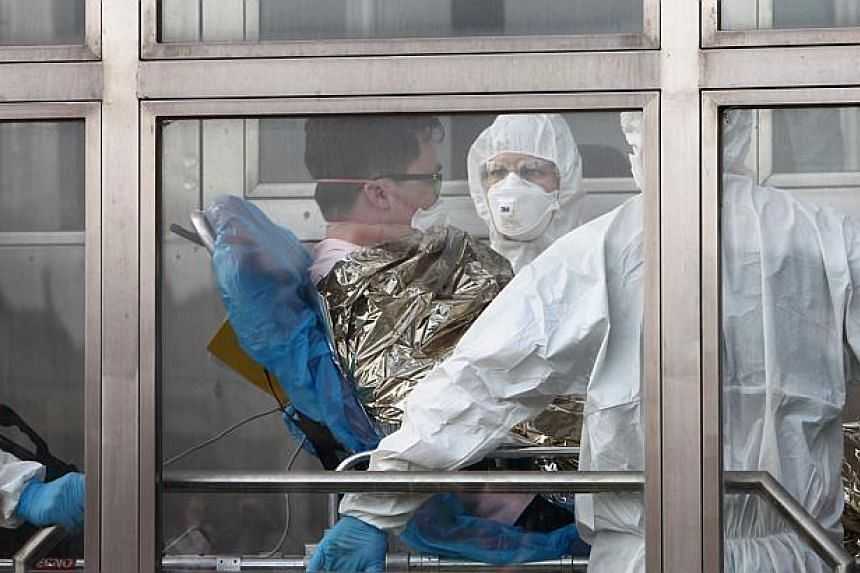 A 39-year-old South Korean patient suspected of suffering from Middle East Respiratory Syndrome (Mers) is admitted to Kramare hospital in Bratislava, Slovakia, after the he was transported by medical staff from the Northern Slovak town of Zilina on J