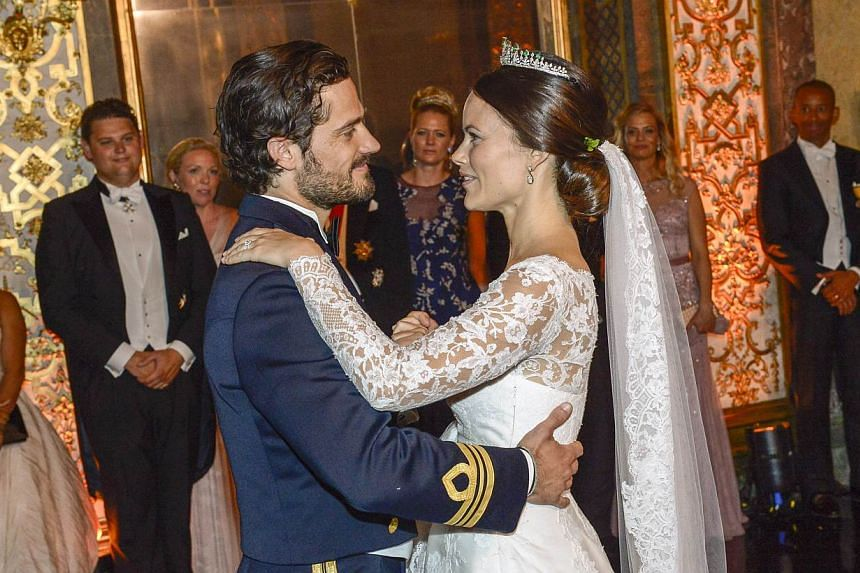 Princess Sofia and Prince Carl Philip dance their first dance during their wedding at the Royal Palace in Stockholm, Sweden, on June 13, 2015. -- PHOTO: AFP