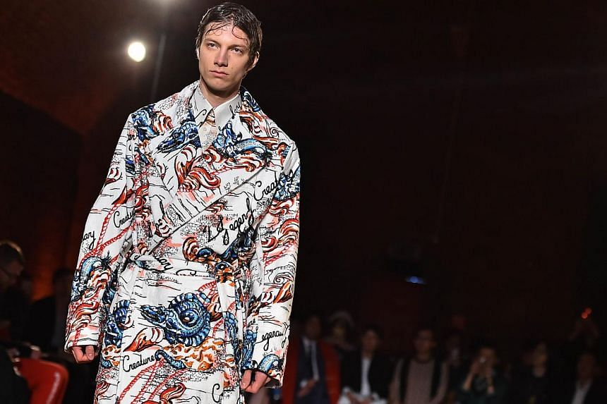 A model presenting a creation from the Alexander McQueen Spring/Summer 2015 collection during London Collections: Men in London, Britain on June 14, 2015. -- PHOTO: AFP