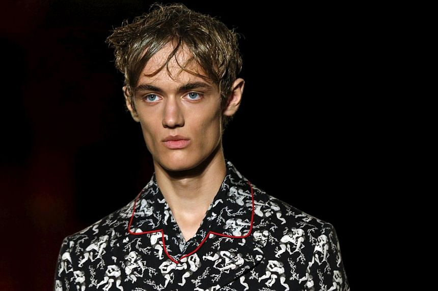 A model presenting a creation from the Alexander McQueen Spring/Summer 2015 collection during London Collections: Men in London, Britain on June 14, 2015. -- PHOTO: REUTERS