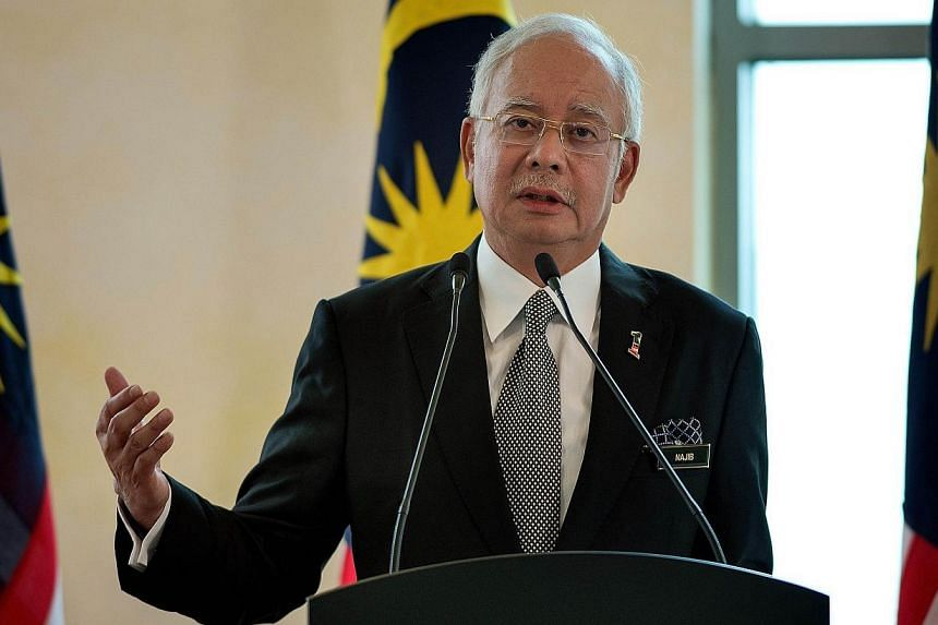 Malaysia's Prime Minister Najib Razak speaking at the prime minister's office in Kuala Lumpur on Feb 6, 2015. -- PHOTO: AFP